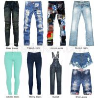 Hot Sale High Waisted Skinny Denim Pants For Men Ripped Jeans