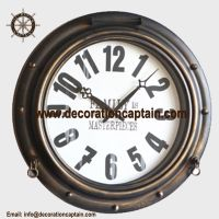 Antique Brass Mariner Port Hole Wall Mirror Porthole Mirrors & Porthole Clocks
