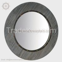 Round Mirror With Wood Frame Wall Mirror Beveled Round Abstract Modern Aged Wooden Mirrors