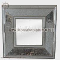 Decorative cracked mosaic wall mirror crackle mosaic frame mirror Silver broken glass wall mirror cullet  mirror