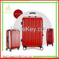 Hot selling pure pc luggage trolley travel luggage set