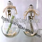 New style bulb lamp glass bottle, 250ml tea with milk glass bottle wholesale