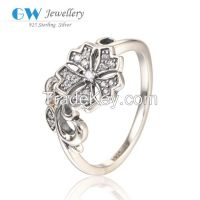 925 Sterling Silver Flower Rings With Clear Stone New Model Rings RIPY
