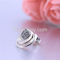 Fashion Simple Design 925 Silver Earring Jewelry With Clear Rhinestone
