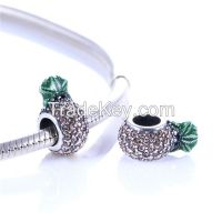 925 Silver Pineapple Charms bead With Clear Gemstone Fit For Bracelet