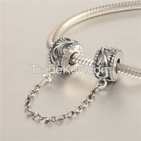 925 Sterling Silver Safety Chain Charm Fit For European Style Bracelet Fashion Charms A013