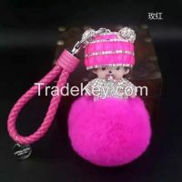 2016 new Monchichi keychain 8cm real rabbit fur pom pom Crystal Monchi