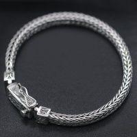 Men's Sterling Silver Fleur Wheat Chain Bracelet