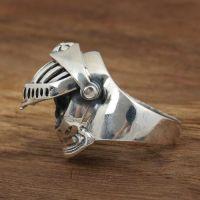 Men's Sterling Silver Armor Skull Ring