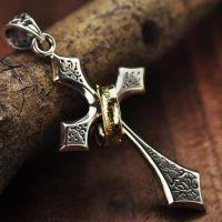 Men's Sterling Silver Lord's Prayer Cross Halo Pendant