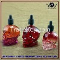 Wholesale 30ml, 60ml and 120ml skull shape glass dropper bottle for e-juice