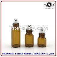 Wholesale 1ml,2ml,3ml amber roll on tube glass bottle with cap and roller