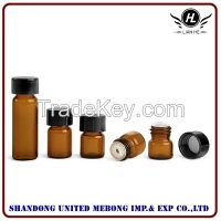 Hot sale Amber Glass Vials with Black Phenolic PV Lined Caps & Orifice Reducers