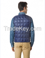Men's packable Down No Collar Vest