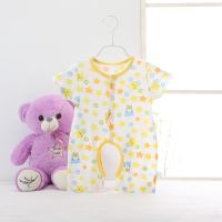 Baby summer rompers short sleeves round collar clothes one-piece