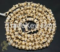 "2.50CT 14K YELLOW GOLD ""ROUND DIAMOND FANCY CHAIN"