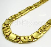 10k Yellow Gold Thick Solid Tiger Eye Chain 30