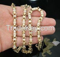 "2.50CT 14K YELLOW GOLD ""ROUND DIAMOND FANCY CHAIN"
