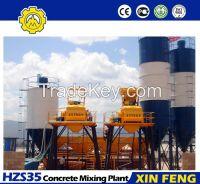 HZS35 concrete mixing plant with skip hoist