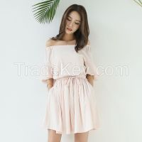 Korean fan slim sexy strapless dress pleated flounces word