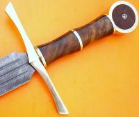 "CUSTOM DAMASCUS STEEL MEDIVEAL KNIGHT SWORD / KNIFE / DAGGER / BOWIE / 32""L"