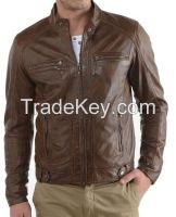 Men's Genuine Lambskin Leather Jacket Black Slim fit Motorcycle jacket