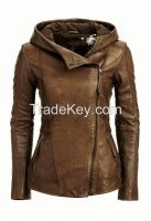 Slim Fit Genuine Leather Jacket With Hoodie For Women -