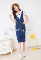 Long cowboy braces skirt girl students in the new spring and summer 20