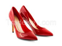 Red high-heeled wedding shoes fine with
