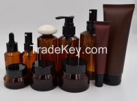 Amber Plastic Bottle and Jar