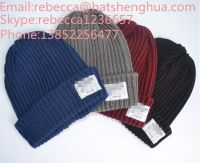 wholesale customer knitted beanie  with woven label