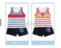 Boy fashion cute set of wholesale and child striped cotton vest Europ