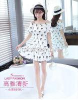 The 2016 summer han edition floral dress Elastic waist show thin strap