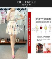 In the summer of 2016 the new printed skirt two-piece dress small pure