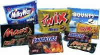 Mars, Snickers, Twix, and Bounty