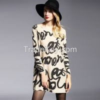 2016 hot sale spring autumn roll neck cute cartoon animal print long sleeve cashmere women sweater
