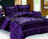 Short velvet comforter set