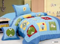 cotton fabric children designs embroidery 3pcs comforter set cartoon d