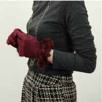 Winter Warm Wool Cashmere Gloves With Rabbit Fur Cuff