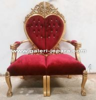 Antique Love Furniture Arm Chair - Solid Mahogany Wood with Tufted Upholstery
