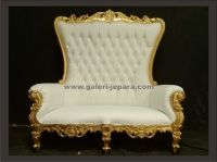 Solid Wood Wedding High Back King Throne in  Gold Paint with White Upholstery