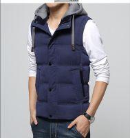 mens autumn/winter three layer  cotton padded leisure vest & waistcoat with hood