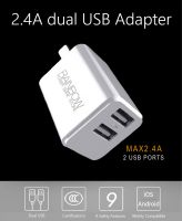 USB Wall Charger, Rainbow 2.4A Dual USB Charger with Foldable Plug for iPhone 8 X 7 / 7s / 6s / 6 / 6 Plus, iPad Air 2, Galaxy S6, Note 5 and More