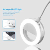 Rainbow Selfie Ring Light, Clip-on LED Camera Light, Rechargeable 36 LED Fill-light, 3-Level Adjustable Brightness On-Camera Video Lights Night Light for iPhone, Samsung, Other Smartphone, Tablets, etc