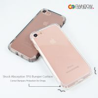 For iPhone 7 Case / iPhone 8 Case, Rainbow Crystal Clear Shock Absorption Reinforced Corners TPU Bumper Cushion + Hybrid Rugged Transparent Panel Cover for Apple iPhone 6 / 7 / 8 / Plus