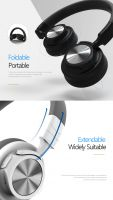 Rainbow BT-590 Bluetooth Headphones Cover Ear, Hi-Fi Stereo Wire & Wireless Headset, Soft Memory-Protein Earmuffs, Foldable,  Built-in Mic and Wired Mode for PC/ Cell Phones/ TV
