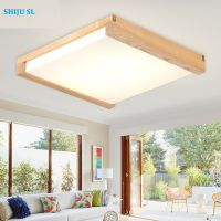 SL T wood rectangle living room ceiling light new chinese traditional dinning room led ceiling lamp north european bedroom lamp Y0591