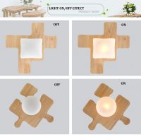 SL LED DIY pendant lamp north european jigsaw puzzle wood pendant lights bedroom jigsaw wood pendant light fixture YJ6009