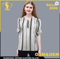 AZ455 Cotton 1ine stripe design shirts blouse for woman