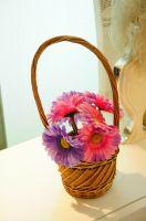wicker flower basket/pots       wood flower pots